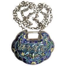 silver enamel lock pendant necklace