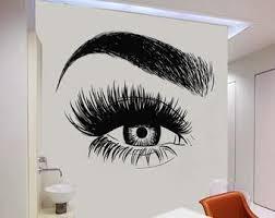 Wall Decal Window Sticker Beauty Salon Woman Face Eyelashes Etsy Salon Wall Art Eyelash Decal Window Stickers
