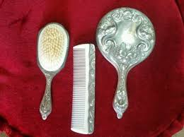 vanity set vintage hair brush handheld