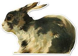 Amazon Com Black White Bunny Rabbit Vinyl Decal Sticker Vintage Painting 5 15 X 3 75 Home Kitchen