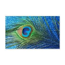 Glittery Blue Peacock Feather Sti 20x12 Wall Decal By Christyo Cafepress