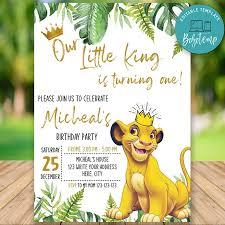 Imprimible Simba Lion King 1er Cumpleanos Invitacion Diy Bobotemp