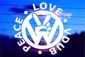 Peace Love Vdub Peace Sign Car Decal Sticker