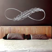 Yoyoyu Art Vinyl Wall Sticker Feather Infinity Sign Removeable Boho Bedroom Car Window Room Decorative Decal Poster Zx143 Leather Bag