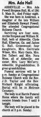 Obituary for Ada Powell Simpson Hall (Aged 85) - Newspapers.com
