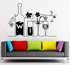 Amazon Com Wine Vinyl Decal Drink Bar Restaurant Kitchen Grapes Wall Stickers Ig2316 Kitchen Dining