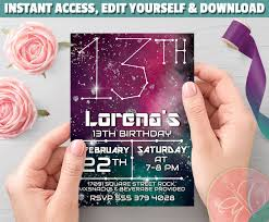 Galaxy Invitation Constellations 13th Birthday Space Birthday