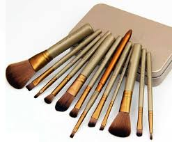 12 pc makeup brush set in gold tin box