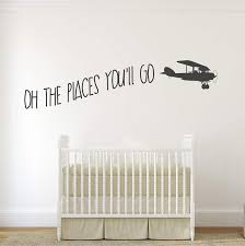 Amazon Com Designdivil Oh The Places You Ll Go With Vintage Aeroplane Kids Room Vinyl Matt Wall Decal Sticker 24 Color Options Home Kitchen