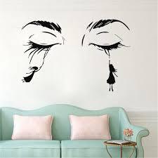 Eyelash Wall Decal Lashes Eyebrows Door Salon Vinyl Sticker Beauty Salon Girls Bedroom Interior Decor Wallpaper Wl1117 Wall Stickers Aliexpress