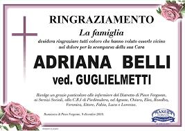 Annunci 24 - Gli annunci economici della provincia del Verbano Cusio Ossola  e Novara - Ringraziamento per Adriana Belli ved. Guglielmetti
