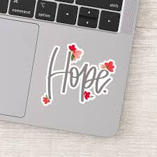 Cute Hope With Floral Vinyl Decal Sticker Zazzle Com