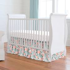 peach and blue prairie crib bedding