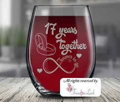 17th wedding anniversary wine gl