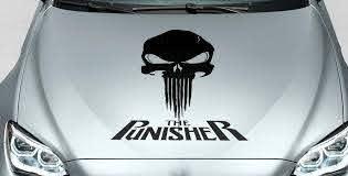 Product Punisher Skull Words Blood Hood Side Vinyl Decal Sticker For Car Track Suv