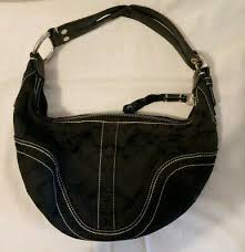 coach black leather buckle zipup small