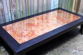 copper patina coffee table