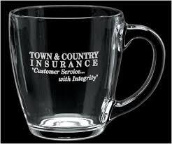 logo engraved clear glass bistro coffee mug