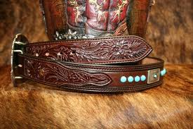 leather belt with carved billets and