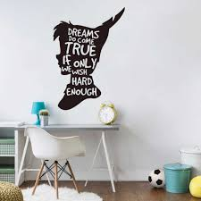 Peter Pan Dream Quote Wall Decal Nursery Kids Room Tinkerbell Peter Pan Inspirational Quote Wall Sticker Playroom Vinyl Decor Wall Stickers Aliexpress