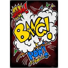 Wham Bang Pow Superhero Sounds Black Steel Sign D At Retro Planet