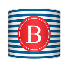 Striped Monogram Blue Red Modern Lamp Shade Oopsy Daisy