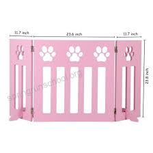 Freestanding Wooden Pet Gate 3 Panel Folding Wooden Fence Pink Puppy Gate For Indoor Hall Doorway Stairs Fits Small Animals 24 Inch Tall B074drh1t2 Oagkbsv0 Oagkbsv0 50 95