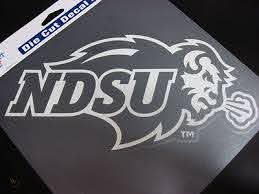 North Dakota State Bison Ndsu White Window Die Cut Decal Wincraft Cling 8x8 400081885