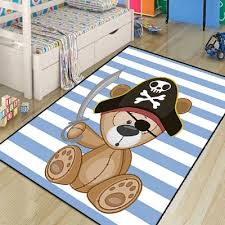 Else Blue Pirate Sailor Cute Bear Lines Boys 3d Print Non Slip Microfiber Children Kids Room Decorative Area Rug Kids Mat Carpet Aliexpress
