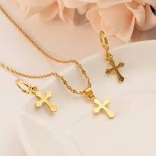 ankh pendant chain earrings gold