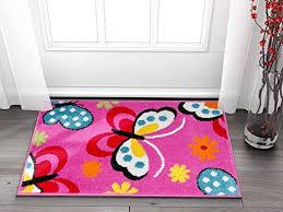 Amazon Com Well Woven Small Rug Mat Doormat Modern Kids Room Kitchen Rug Daisy Butterflies Pink 1 8 X 2 7 Accent Area Rug Entry Way Bright Carpet Bathroom Soft Durable Garden