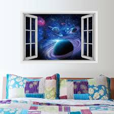 3d Planet Dolphin Shark Fake Window Wall Stickers Decorative Painting Sale Price Reviews Gearbest