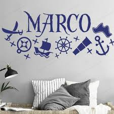 Pirate Personalized Wall Decals Pirate Name Vinyl Wall Stickers For Bedroom Pirate Room Decorhj599 Gryh4656fe46