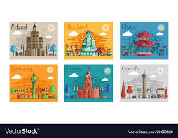 cities for travel destinations vector image