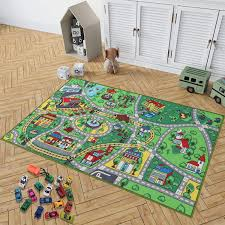 Kid Toys Rug With Roads And Train Tracks Cool And Fun Area Rug Gift Set With 18 Cars Kid Rug For Boys And Girls Play And Learn Car Carpet Playmat For Bedroom Play Room Game