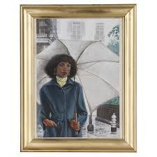 Felix Cole Gouache Illustration of Woman with Umbrella | EBTH