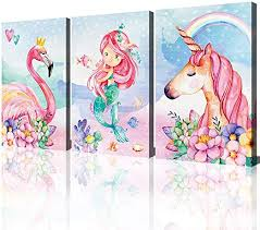 Amazon Com Unicorn Wall Decor Pictures Pink Girls Room Bedroom Bathroom Wall Art Cute Mermaid Flamingo Watercolor Painting Artwork Pink Rainbow Framed Canvas Print Nursery Kids Birthday Gifts 3 Pieces Posters Prints