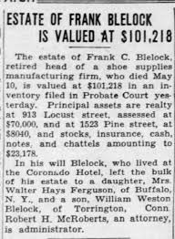Frank C Blelock - estate evaulation - Newspapers.com