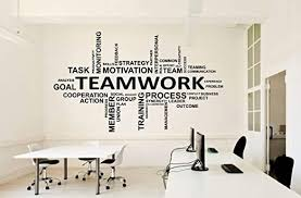 Amazon Com Office Wall Decal Teamwork Business Worker Inspire Office Decoration Motivation Stickers Mural Unique Gift 1552re Home Kitchen