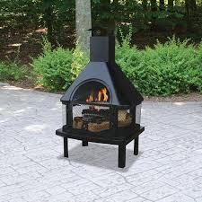 outdoor wood burning fireplace black