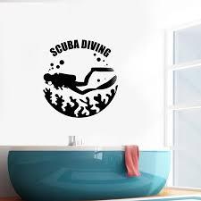Scuba Diving Wall Decal Diver Ocean Life Sea Club Vinyl Wall Stickers Mural Art Waterproof Interior Decor Window Decals S696 Wall Stickers Aliexpress