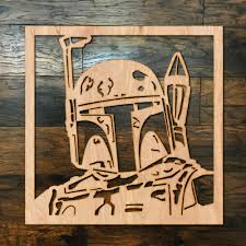Boba Fett Square Wood Hanging Wall Art Zug Monster