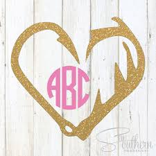 Glitter Hook And Antlers Monogram Decal Sew Southern Designs