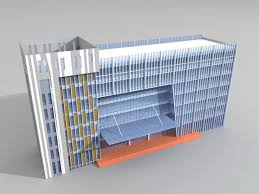 modern glass office building free 3d