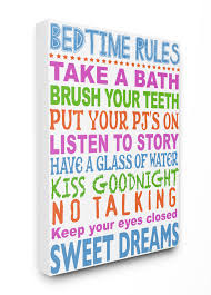 The Kids Room By Stupell Multi Colored Bedtime Rules Typography Stretched Canvas Wall Art 30 X 1 5 X 40 Walmart Com Walmart Com