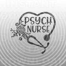 Floral Stethoscope Svg File Psych Nurse Svg Nursing Svg Vector Art Commercial Personal Use Cricut Silhouette Cameo Ir Psych Nurse Silhouette Cameo Vinyl Cricut