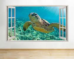 Sea Turtle 3 Porthole Window Wall Decal Ocean Underwater 3d Portscape Vinyl