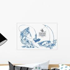 Fisherman And Fish Vintage Illustration Wall Decal Wallmonkeys Com