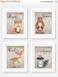 woodland animal nursery set of 4 girls