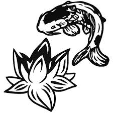 Koi Fish Lotus Flower Vinyl Decal Sticker